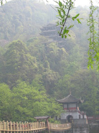 At Dujiangyan China irrigation project looking up at Taoist temple