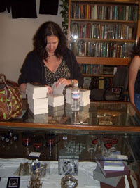 Jacqueline Carey at Borderland Books signing